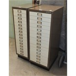 A Bisley steel fifteen-drawer cabinet, 34.5cm wide, 94cm high and a similar narrower cabinet, 27.5cm