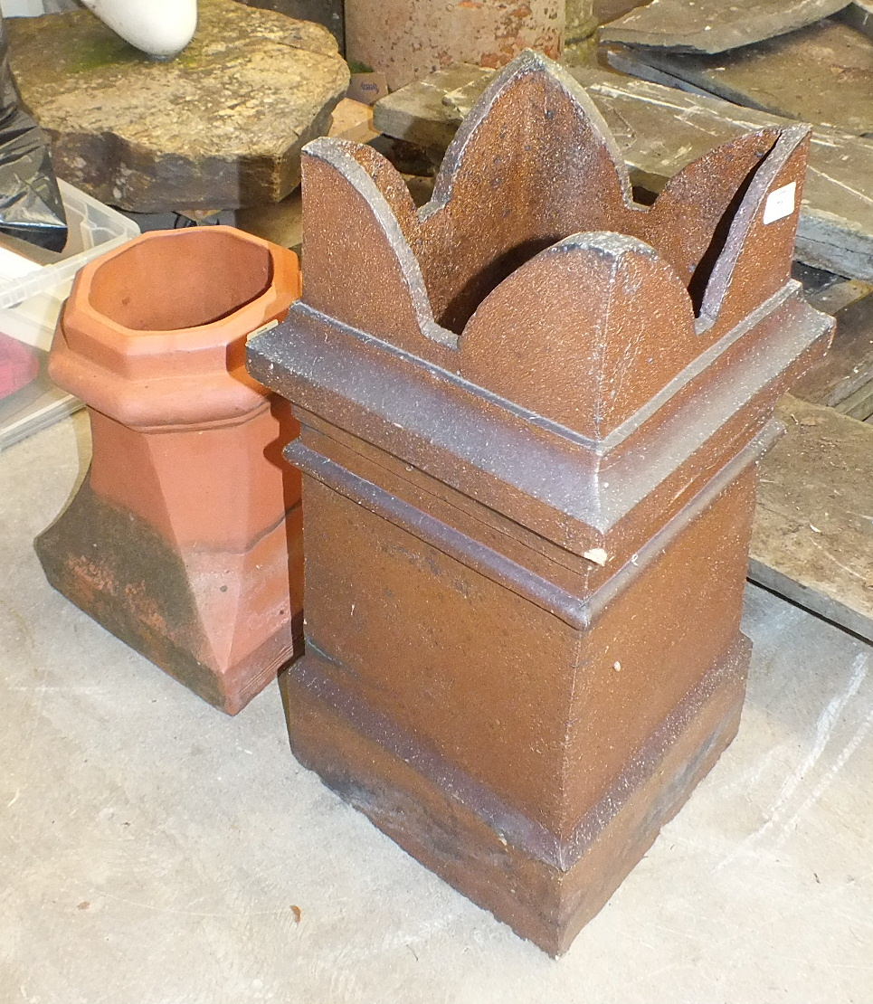 Lot 71 - A square stoneware chimney pot, 30cm square, 77cm high and a smaller octagonal-shaped terracotta