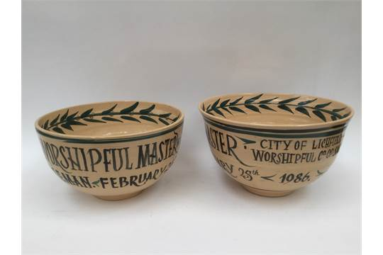 Two Studio pottery bowls, David Lichfield, both inscribed