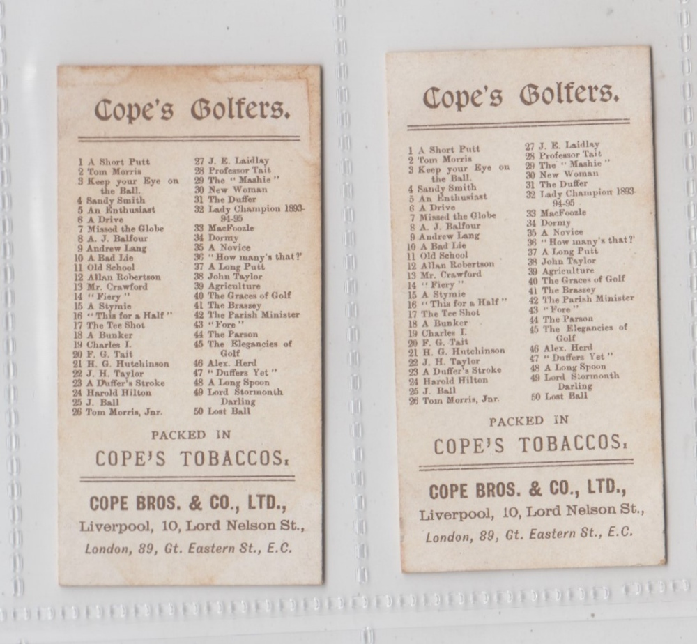 Lot 264 - Cigarette cards, Cope's, Cope's Golfers, two cards, no 40 'The Graces of Golf' & no 42 'The