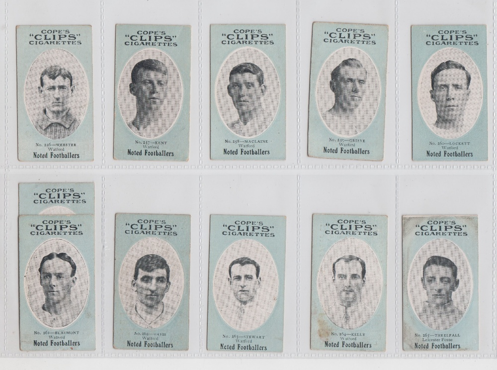 Lot 186 - Cigarette cards, Cope's Noted Footballers (Clips, 282 Subjects), Watford, 10 cards, nos 256-265
