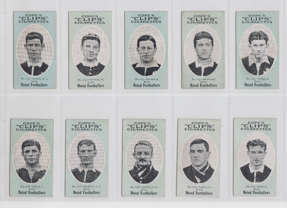 Lot 183 - Cigarette cards, Cope's, Noted Footballers (Clips, 120 Subjects), Neath, 10 cards, nos 101-110