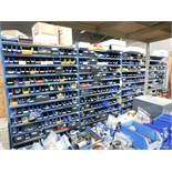 LOT - (4) SECTIONS OF SHELVING, W/ CONTENTS TO INCLUDE: PLUMBING VALVES, FITTINGS, HYDRAULIC &