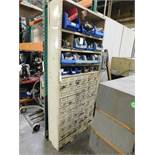 LOT - SHELF UNIT, W/ PULLOUT PARTS DRAWERS, W/ CONTENTS OF BRASS FITTINGS, COUPLINGS, ETC.