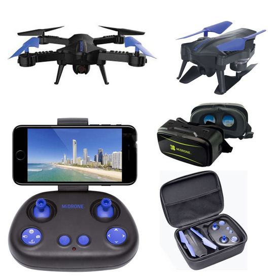 Lot 43054 - V Brand New MiDrone HD WiFi Drone With Intergrated Full HD Camera PLUS VR Kit (Goggles & Case) -