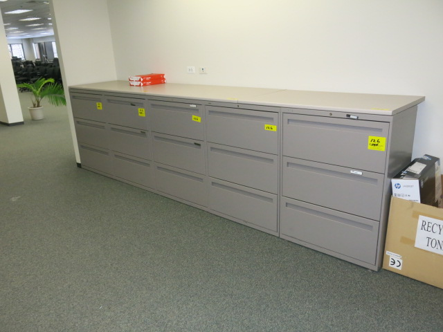 Lot 126   LOT: (10) Hon 3 Drawer Lateral File Cabinets With
