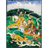 TIGER-HUNT Paint on paper, gilding. India, Punjab, about 1800A dramatic scene with a full-bearded,