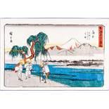 UTAGAWA HIROSHIGE 歌川広重 (1797 - 1858) Original woodblockrprint. Japan, Kanbara, Iwafuchi yori