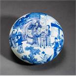 BOWL WITH LID AND COURTLY SCENE Porcelain with cobalt-blue painting. China, On the curved lid is