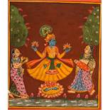THE GOD KRISHNA ON A LOTUS BLOSSOM Paint on paper. India, Rajasthan, ca. 18th cent.In the center