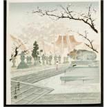 TOKURIKI TOMIKICHIRO 徳力富吉郎 (1902 - 2000) Shinkarasaki no Original woodblockrprint. Japan,