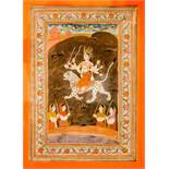 THE BLACK GODDESS KALI Miniature painting on paper. India, 19th cent.Kali is in the center of this