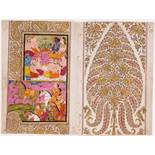 KRISHNA, RADHA AND RAMA Miniature painting. Paint and gold on paper. Northern India, Kashmir, 19th