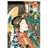 "UTAGAWA KUNISADA I 歌川 国貞 (1786 - 1865) Original woodblockrprint. Japan, Fujibakama 藤袴 - ""Purple"