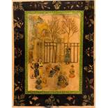 COURTLY SCENE AND FLOWER BOUQUET Paint and gold on leather, or paper. Indo-Persia, about