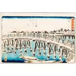UTAGAWA HIROSHIGE 歌川広重 (1797 - 1858) Original woodblockrprint. Japan, Nihonbashi - Yukibare no asa