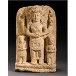 HIGH GOD VISHNU WITH WIVES Tuff. Majapahit, 14th to 15th cent.Very rare stele featuring the high,