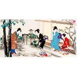 YOSHU CHIKANOBU楊洲周延 (1838 - 1912) Original woodblockrprint. Japan, Cha no yu 茶の湯 – Tea-Ceremony.
