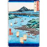 UTAGAWA HIROSHIGE 歌川広重 (1797 - 1858) Original woodblockrprint. Japan, Dewa. Mogami-gawa Gassan