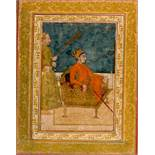 MUHAMMAD SHAH ON THE THRONE Paint on paper, gilding. India, about 1720This image depicts the young