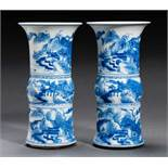 PAIR OF VASES WITH LANDSCAPES Porcelain with cobalt-blue painting. China, Two rouleau-shaped pieces: