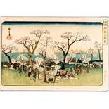"UTAGAWA HIROSHIGE 歌川広重 (1797 - 1858) Original woodblockrprint. Japan, Gotenyama yûkyô 御殿山遊興 – """