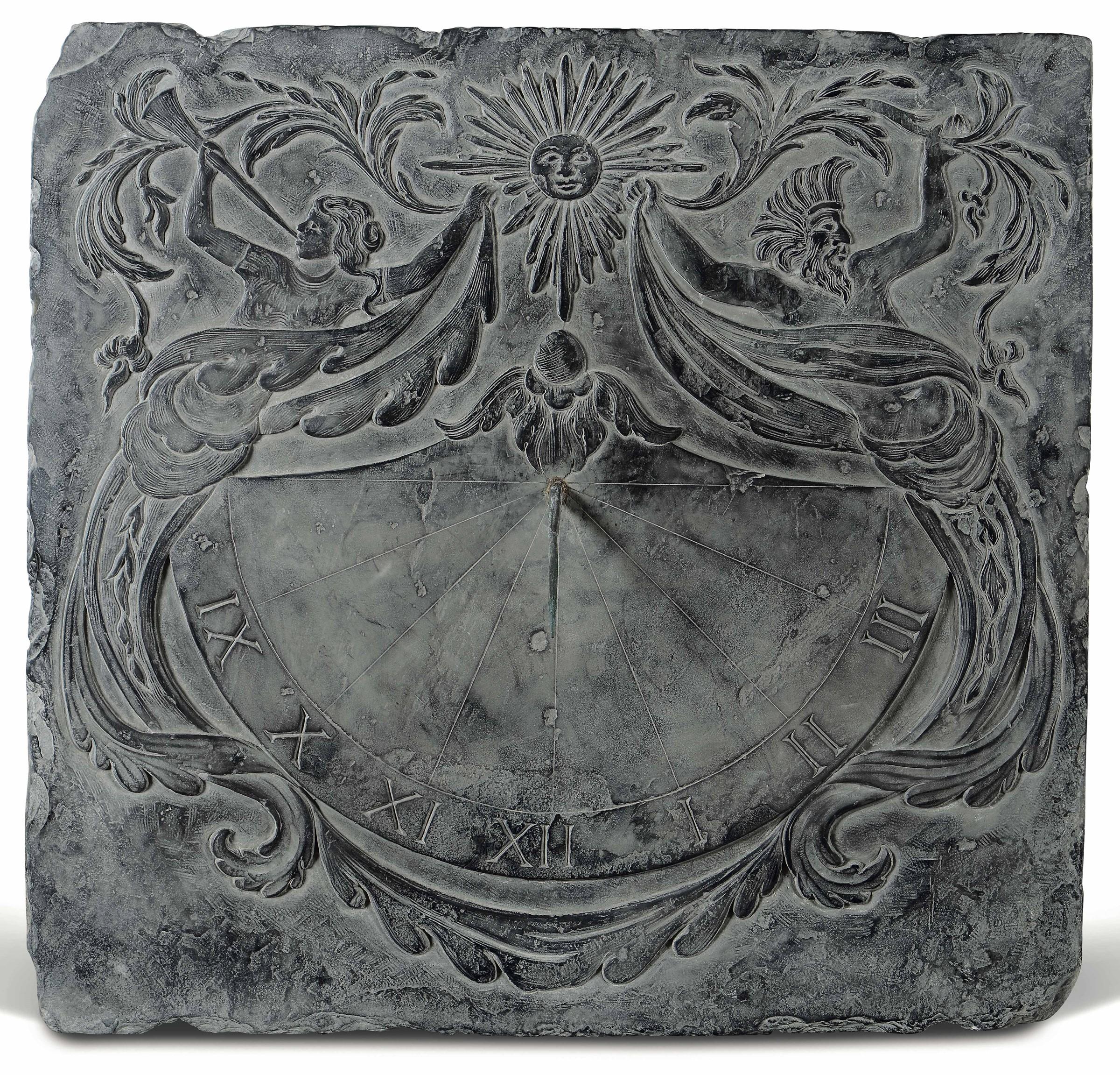 Meridiana da giardino in ardesia, probabilmente Genova, XVIII secolo, - incisioni [...]