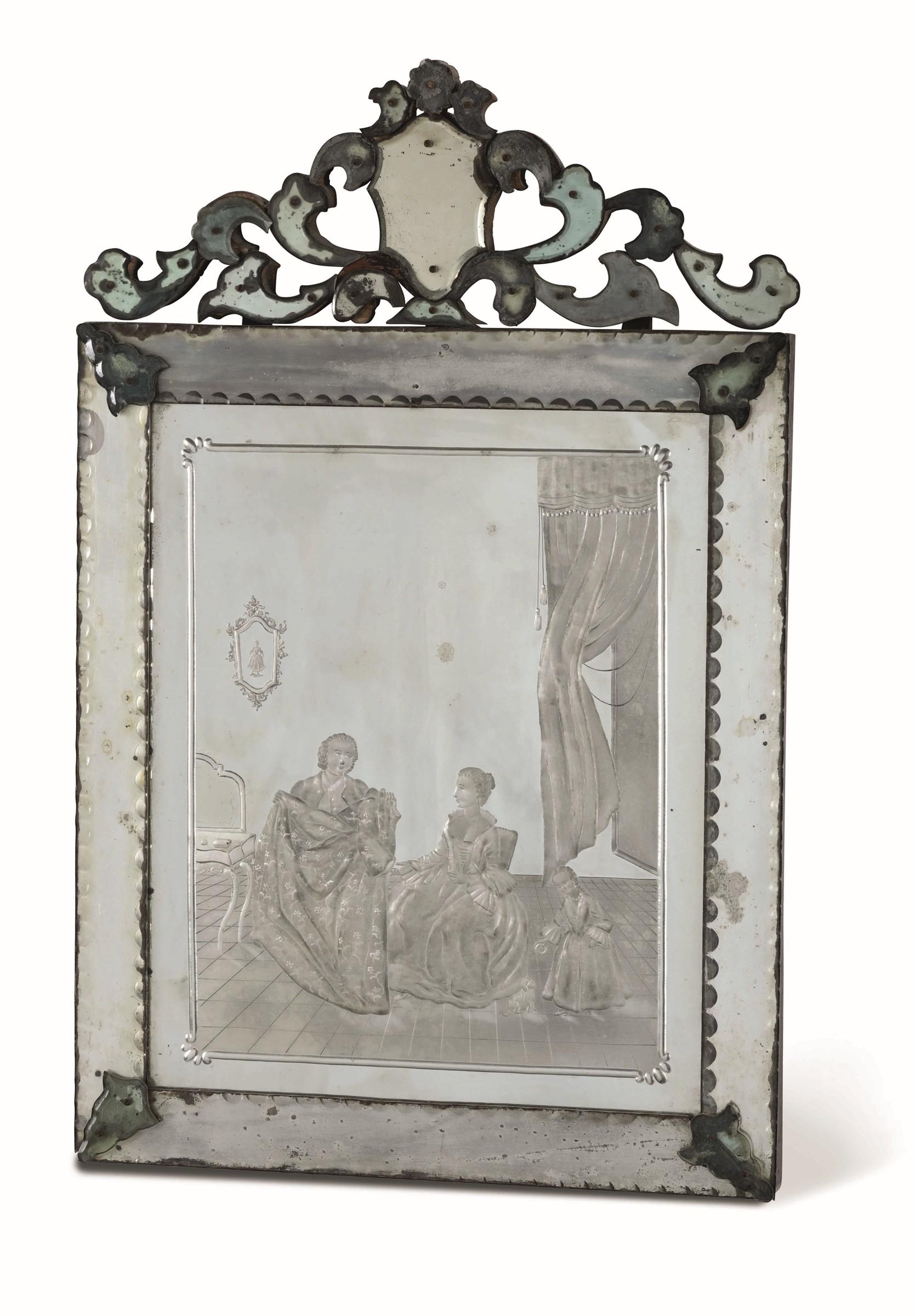 Tre specchiere in vetro di Murano soffiato molato e inciso, Murano(?) seconda metà [...]