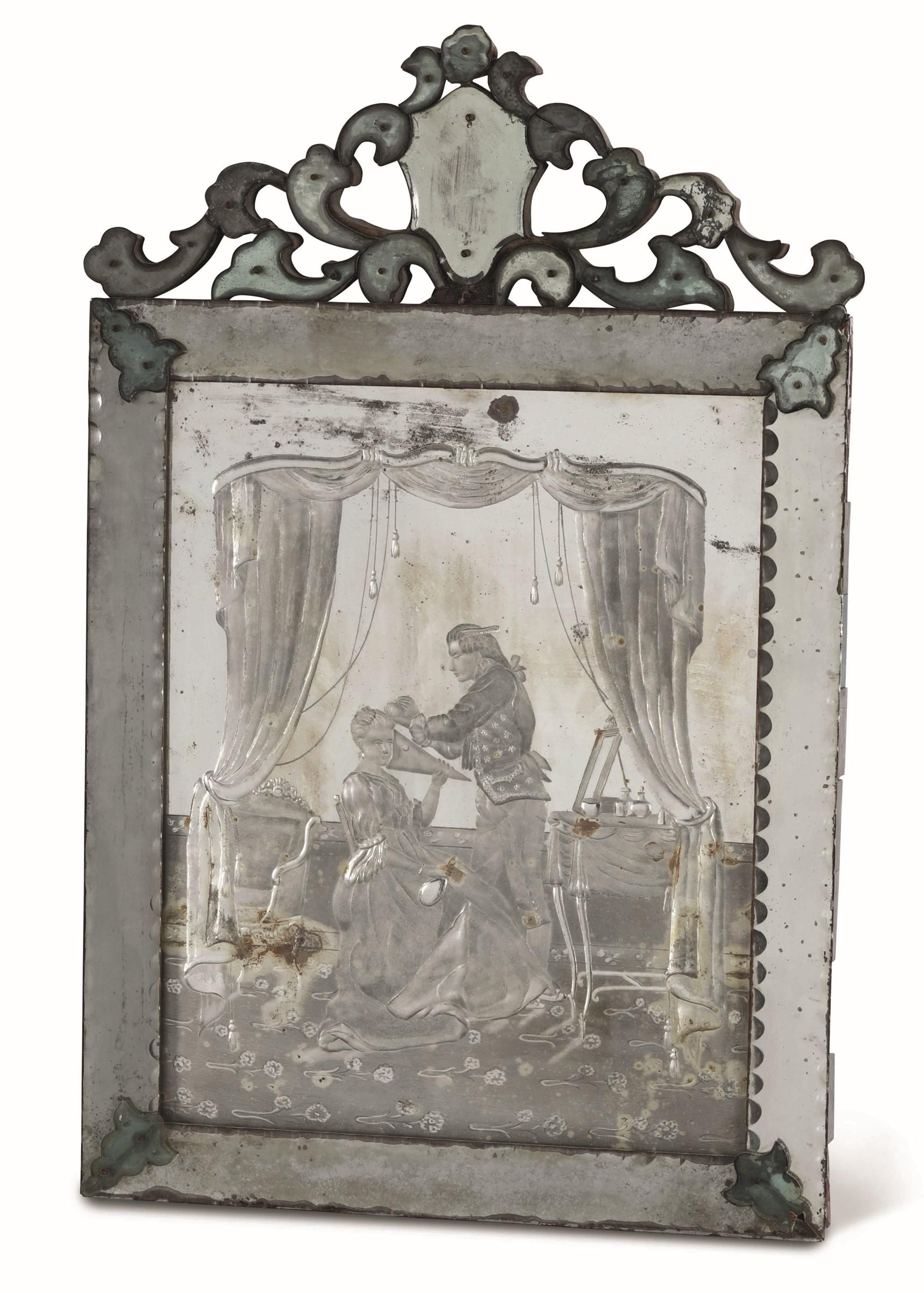 Tre specchiere in vetro di Murano soffiato molato e inciso, Murano(?) seconda metà [...] - Image 2 of 3