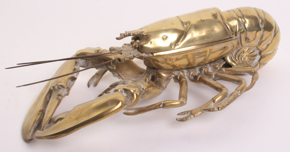 Lot 40 - Brass Lobster Ink Well,being a fine detailed example, middle section of shell can be lifted