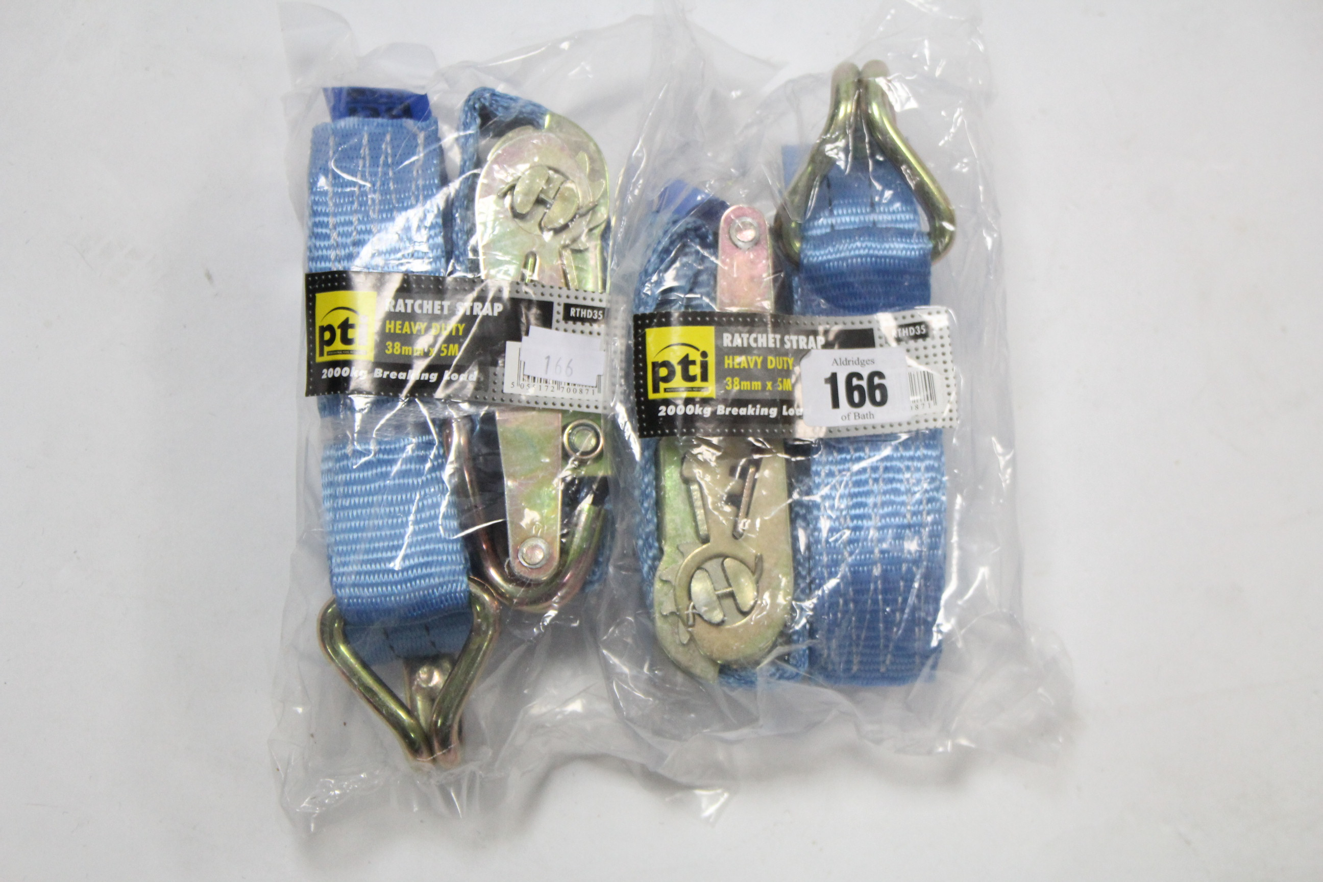 Lot 166 - Two PTI 38mm x 5m heavy-duty ratchet straps.