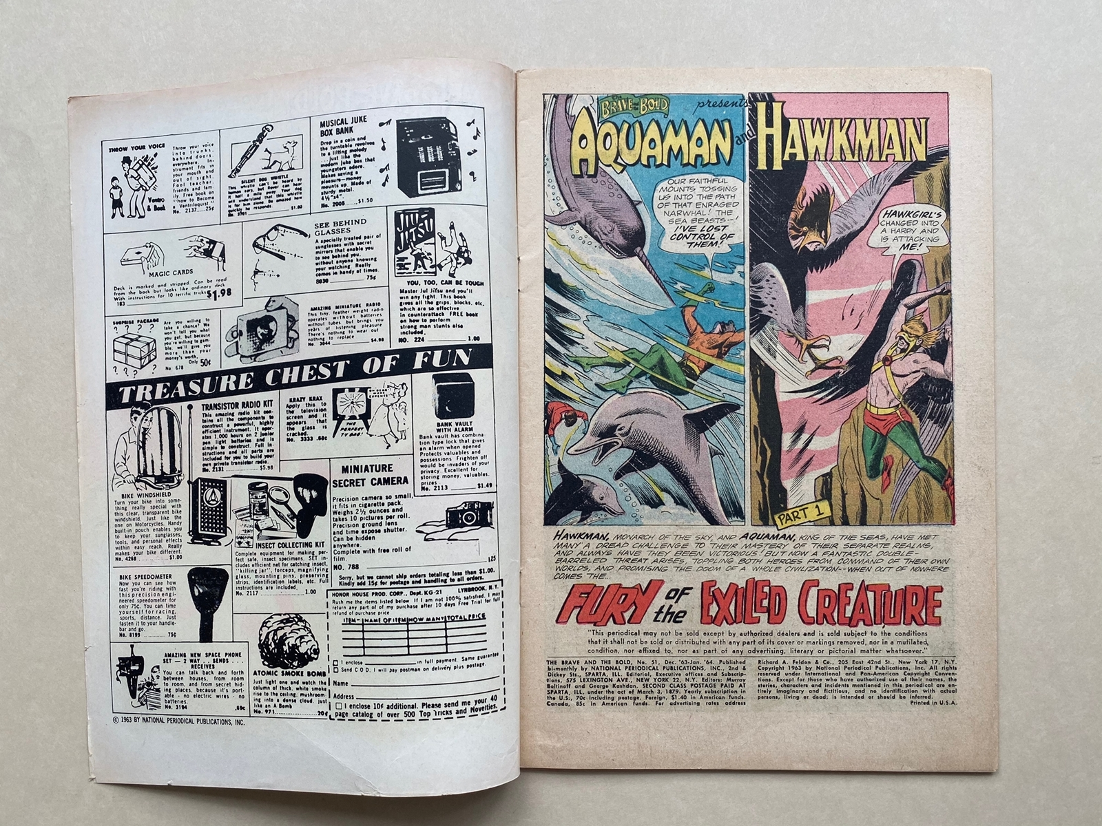 BRAVE & BOLD #51 - AQUAMAN & HAWKMAN - (1964 - DC) FN/VFN (Cents Copy) - Pre-dates Hawkman #1 - - Image 6 of 10