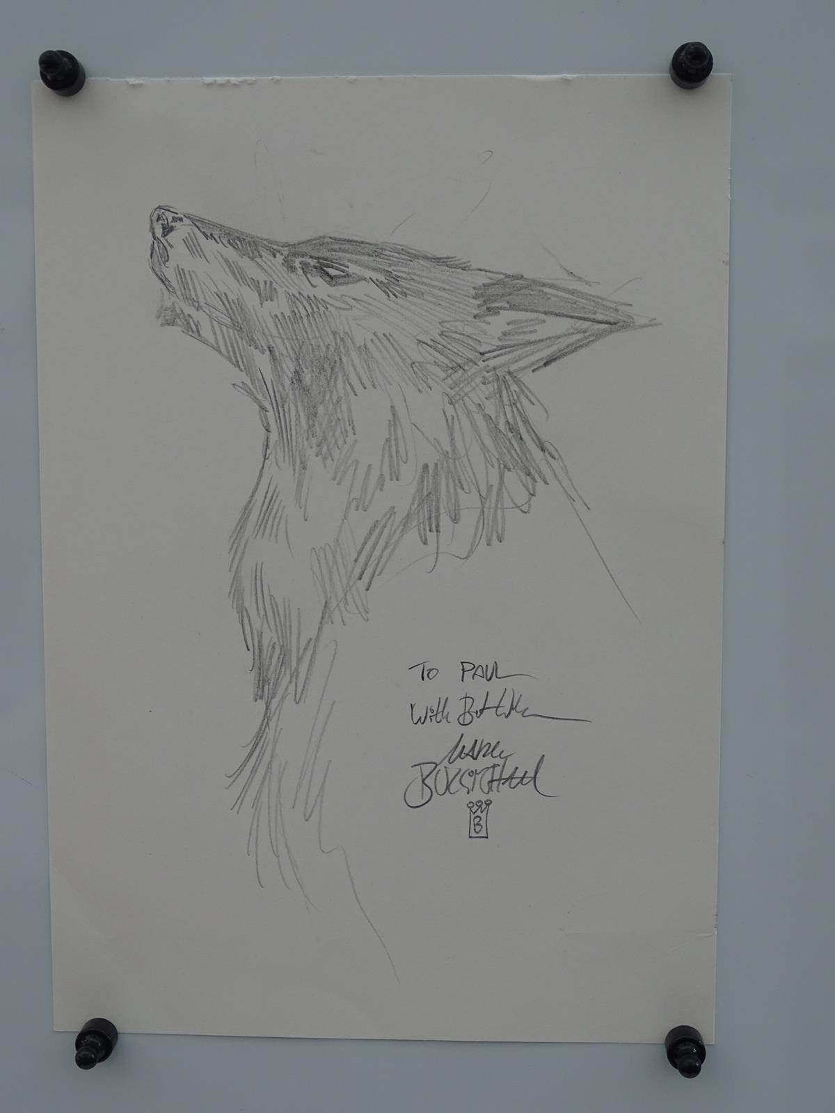Lot 2147 - MARK BUCKINGHAM ORIGINAL 'WOLF' DRAWING - SIGNED BY ARTIST MARK BUCKINGHAM - Pencil, graphite sketch