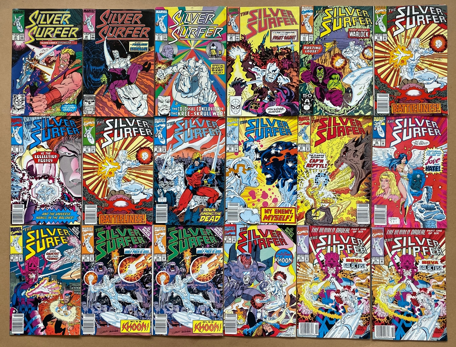 Lot 2065 - SILVER SURFER (42 in Lot) - (1989/95 - MARVEL) - FN/VFN (Cents/Pence Copy) - Run includes #27, 28,