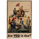 War Poster Are You In This British WWI Recruitment
