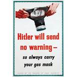 War Poster Hitler Will Send No Warning WWII Gas Mask