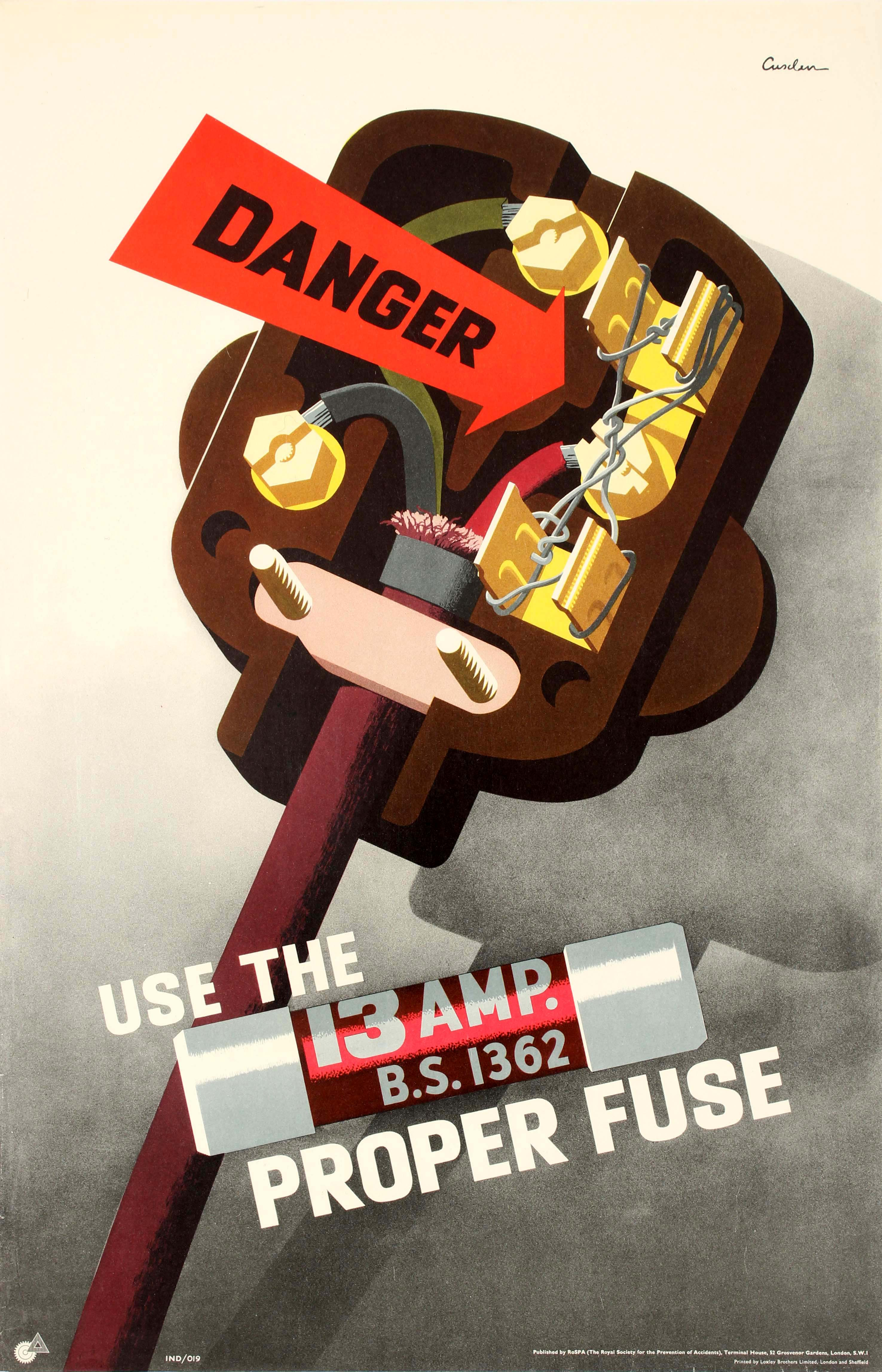 Lot 42 - Propaganda Poster Danger Electrician Fuse ROSPA Safety Plug