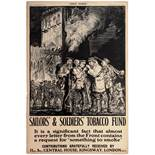 War Poster WWI Sailors Soldiers Tobacco Fund Brangwyn Smoking