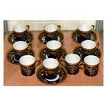 Haviland (Limoges) part coffee service comprising: ten cans and seven saucers with blue and gilt