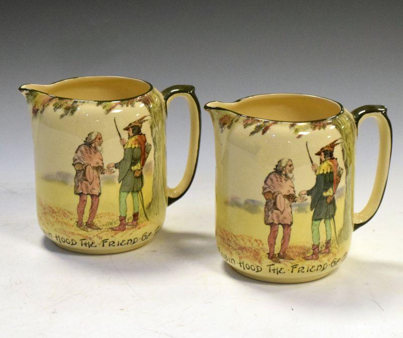 Royal Doulton 'Under The Greenwood Tree' Robin Hood seriesware jugs, 'Robin Hood the Friend of the
