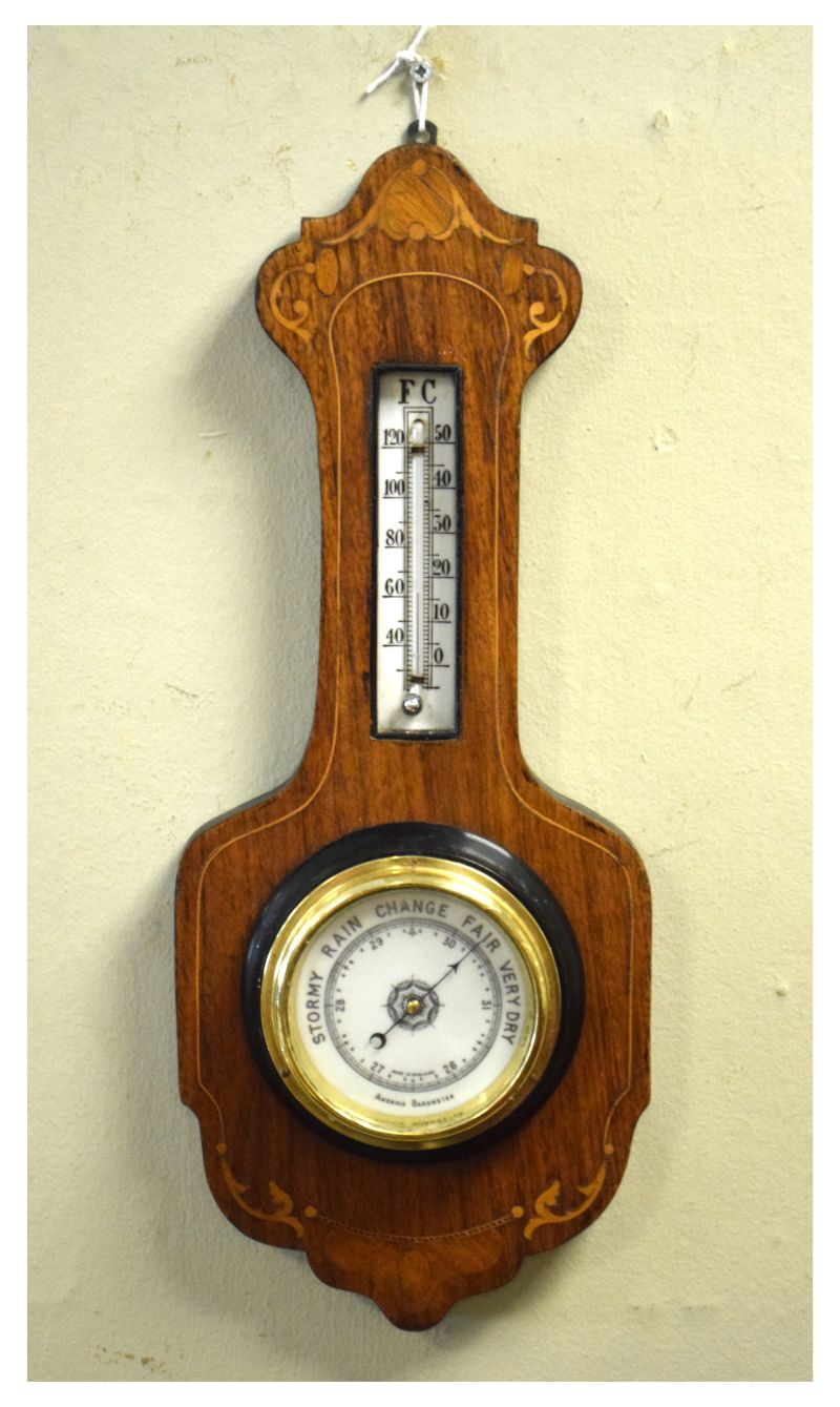 Lot 403 - Rosewood and string inlaid aneroid barometer with mercury thermometer, 45cm high