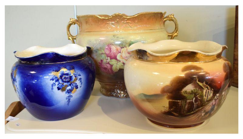 Three pottery jardinières