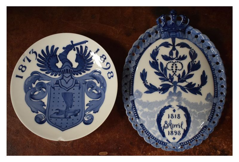 Danish Royal Copenhagen porcelain oval plaque commemorating the 80th Birthday of King Christian IX