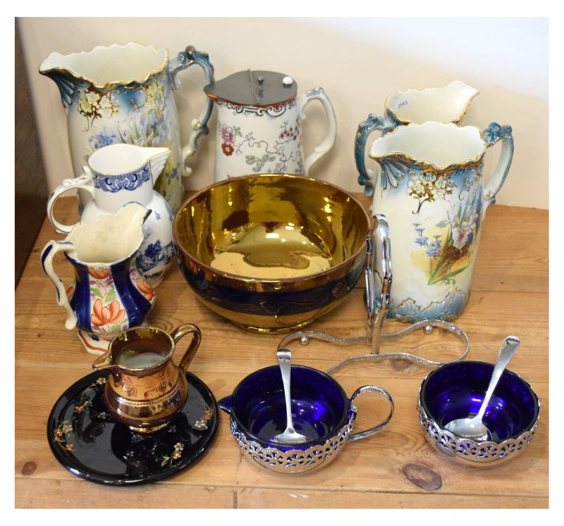 Small quantity of mainly Victorian ceramic jugs etc