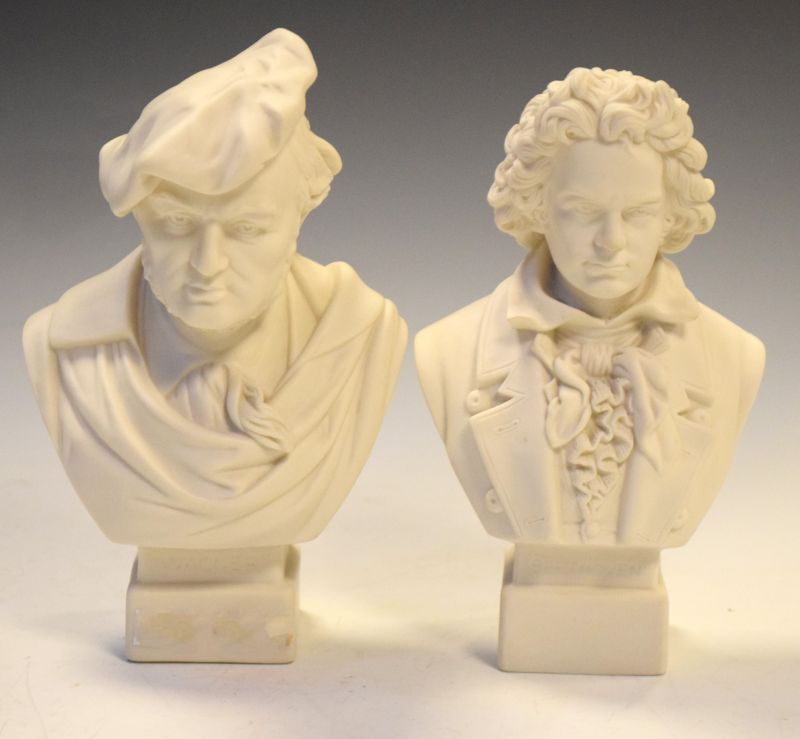 Pair of Parian ware busts of Wagner and Beethoven by Robson & Leadbetter, 20cm high and 19cm high