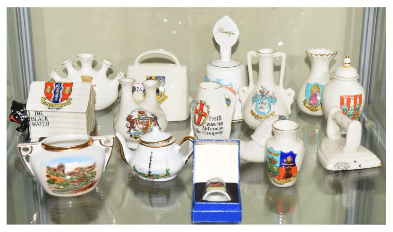 Lot 367 - Group of crested ware china including 'Black Watch' bulldog in kennel, snail, Lincoln 'Alderman
