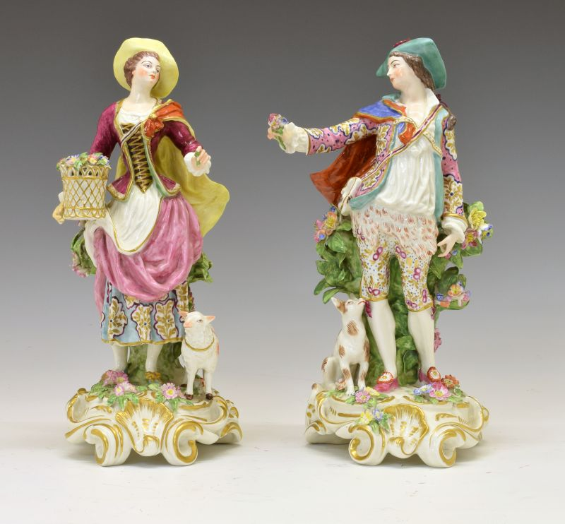 Large pair of 19th Century Continental porcelain figures of a gallant and lady, possibly Sampson,