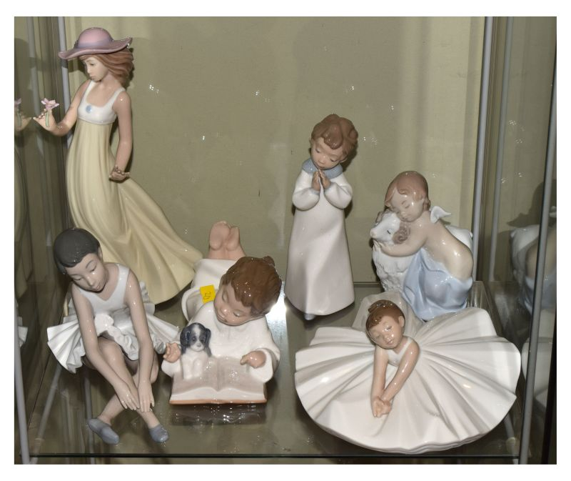 Six assorted Spanish Nao porcelain figures of ladies and children