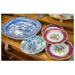 Blue and white Willow pattern meat plate, three dessert plates and a Chinese export plate