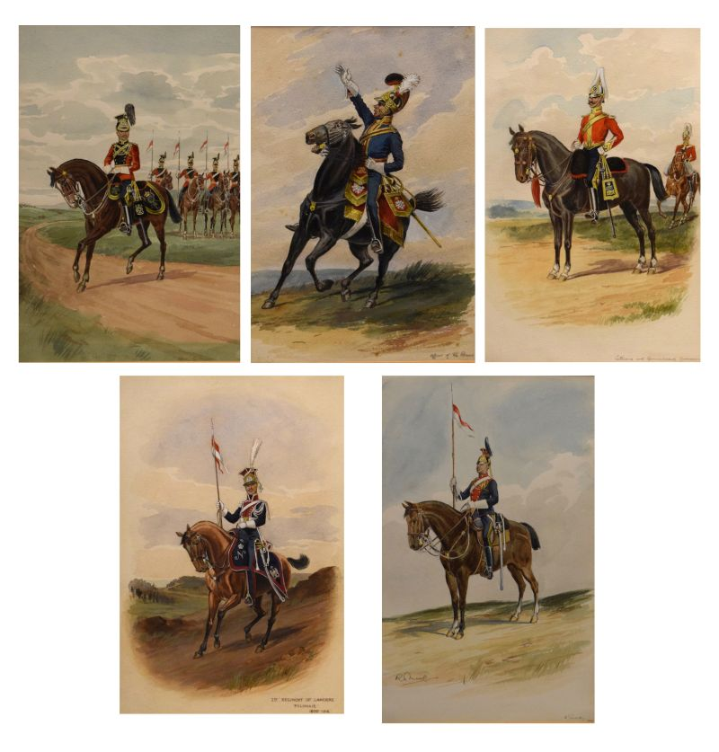 Lot 546 - R. Moore - Set of five watercolour studies of Cavalry Officers, 5th Lancers, Polish Lancers,